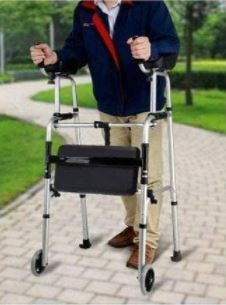 demonstration on how to use an upright walker